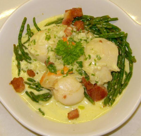 Recipe for scallops, samphire and panchetta